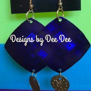 Gold Tone Color Block Drop Earrings